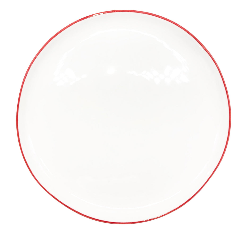 Abbesses Medium Plate in Red Rim - Set of 4