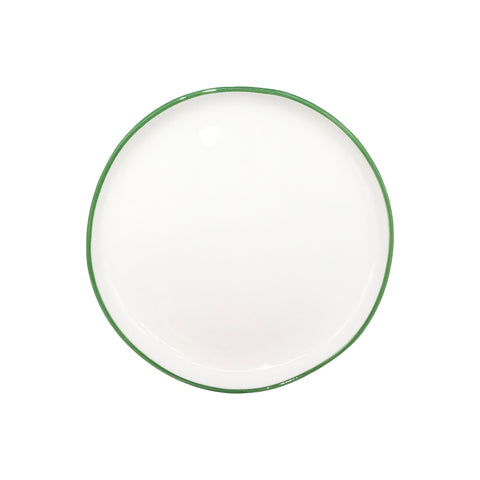 Abbesses Small Plate in Green Rim - Set of 4
