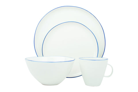 Abbesses Medium Plate in Blue Rim - Set of 4