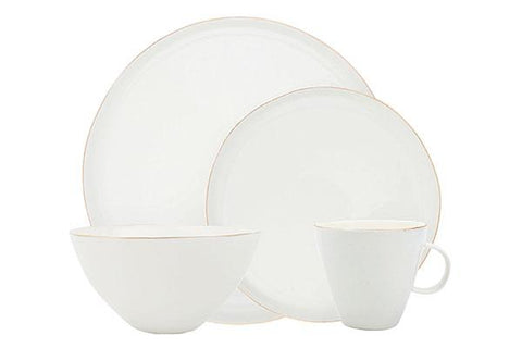 Tinware Dinner Plate in White - Set of 4