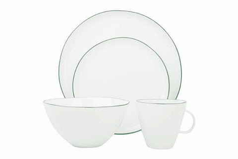 Abbesses 4-piece place setting - Green Rim