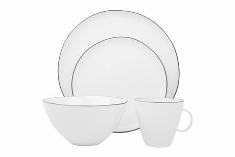 Abbesses 4-piece place setting - Grey Rim