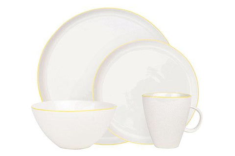 Abbesses 4-piece place setting - Yellow Rim