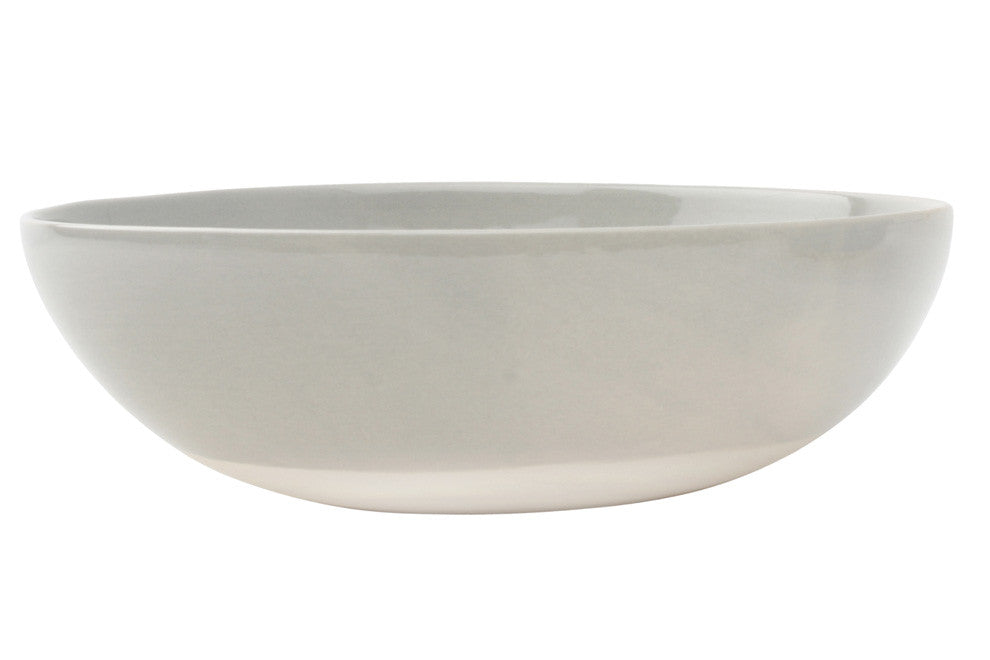 Shell Bisque Round Serving Bowl in Grey