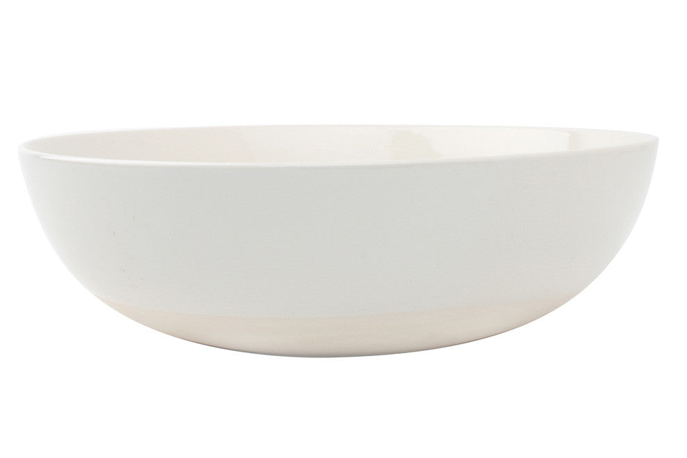Shell Bisque Round Serving Bowl in White
