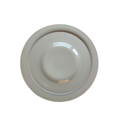 Rimmed Shell Bisque Dinner Plate in Grey - Set of 4