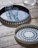 Taroudant Round Tray - Small - White Leather Glaze