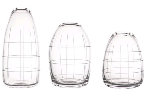 Wren Clear Cut Vase - Set of 3 Large Vases (22, 17, 15)