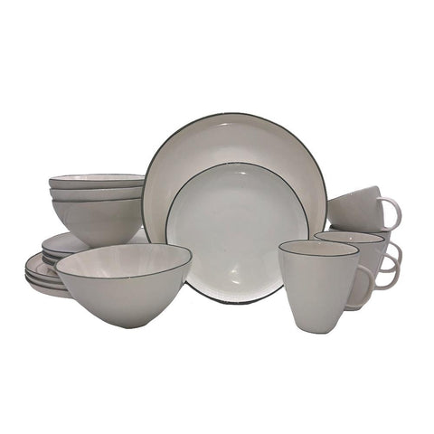 Tinware 12 Piece Breakfast Set with Mugs - White