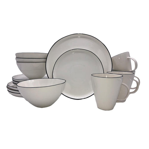 Lines 16-piece place setting - White/Blue