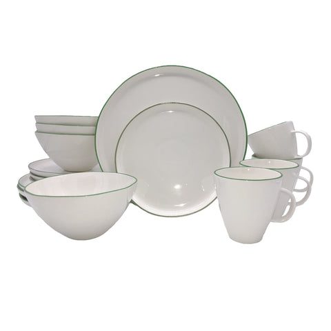 Rimmed Shell Bisque 4-Piece Place Setting - Blue
