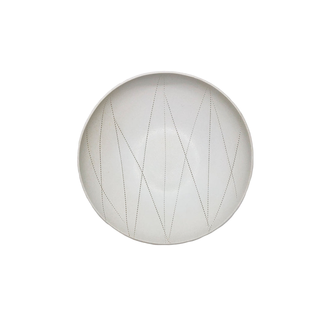 Taroudant Small White Leather Glaze Asymmetrical Nesting Bowl