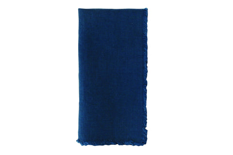 Lithuanian Linen Fringe Napkin in Dark Blue