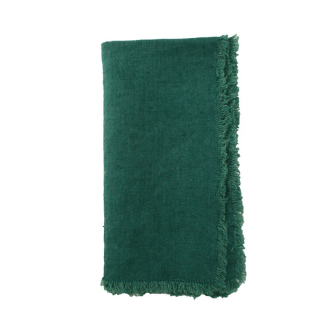 Lithuanian Linen Fringe Napkin in Forest Green