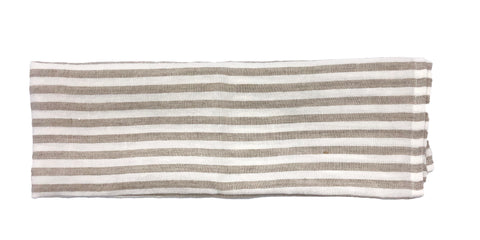 Linen Tea Towel in Cream/Natural Stripe - Set of 2