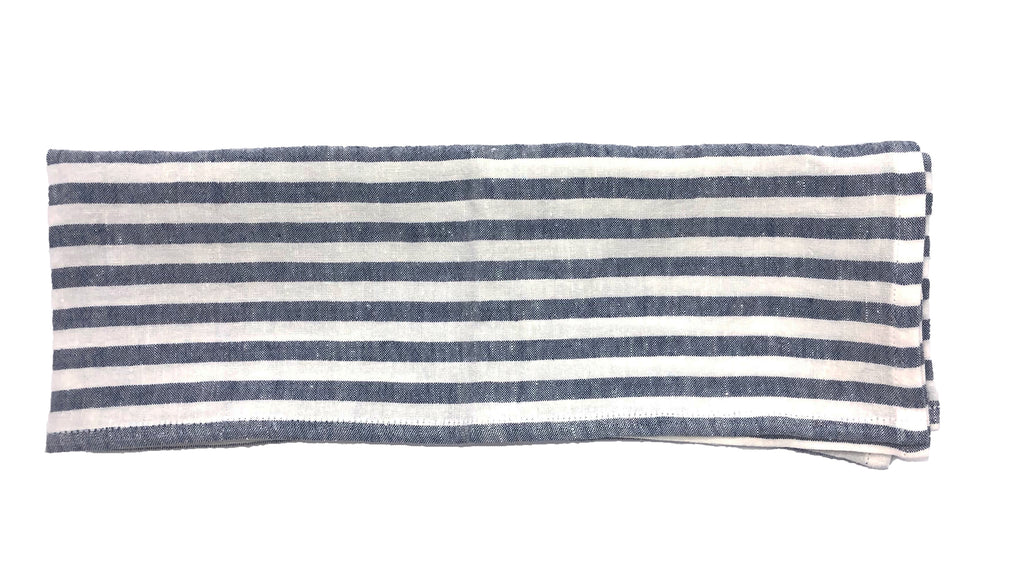 Linen Tea Towel in White/Indigo Stripe - Set of 2