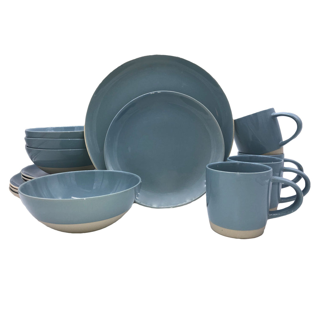 Shell Bisque 16-piece place setting - Blue