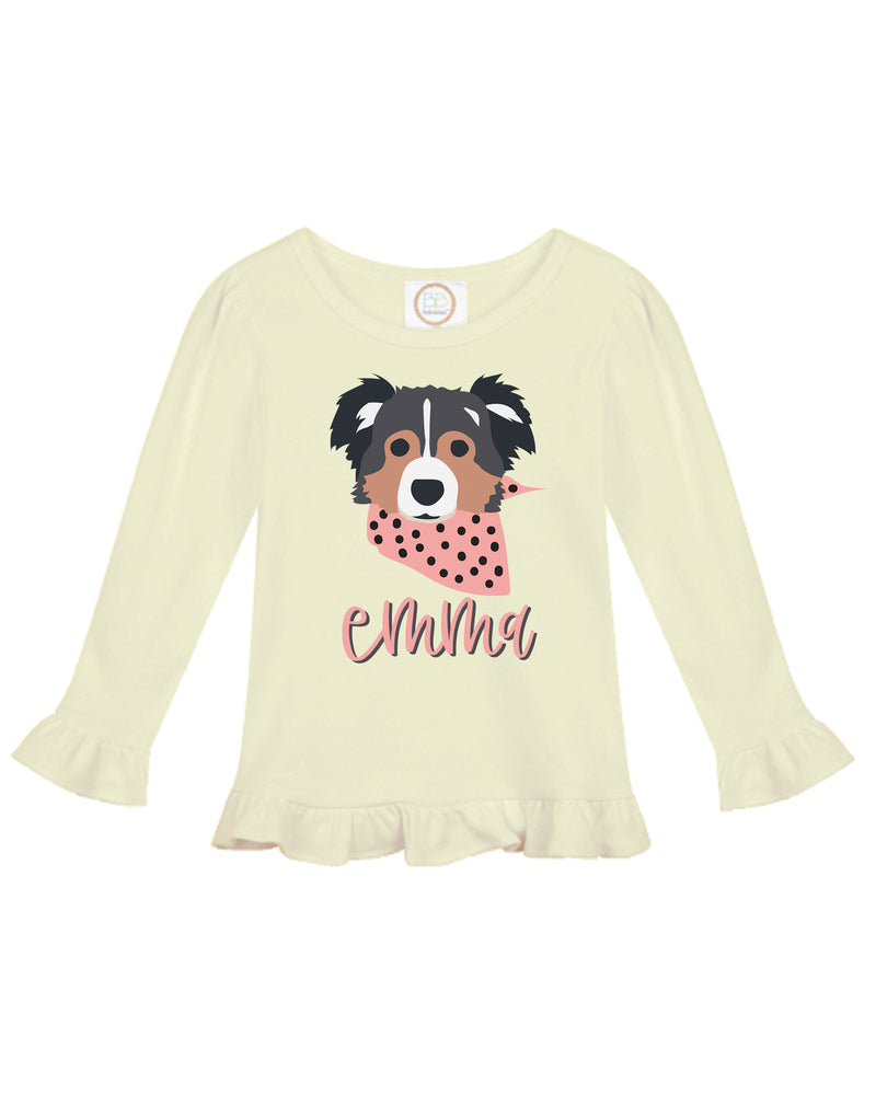 Pup Ruffle Tee | Long Sleeve