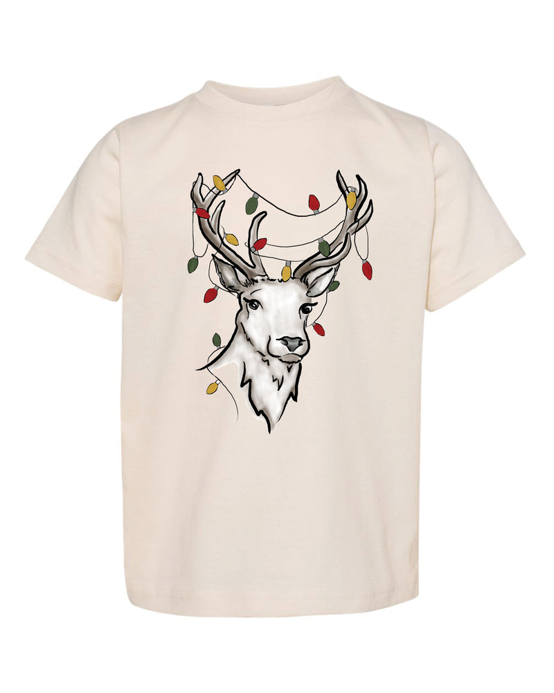 Reindeer + Christmas Lights | Tee | Kids