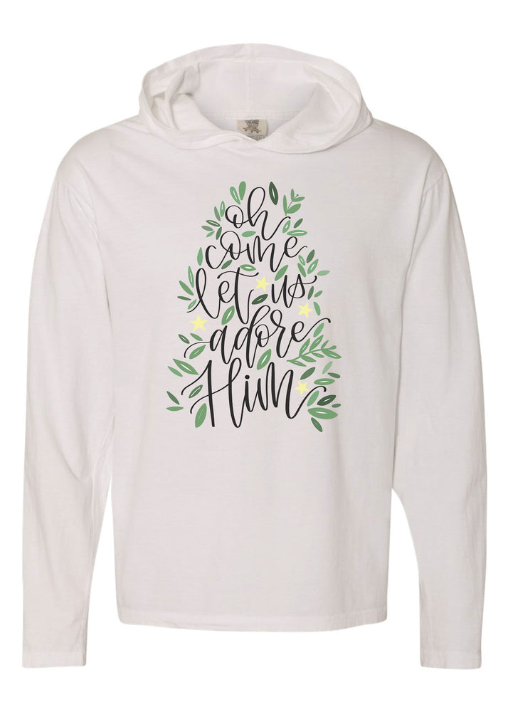 Oh Come Let Us Adore Him | Hooded Tee | Adult