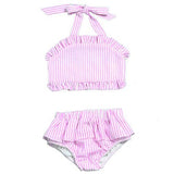 baby toddler and girls seersucker two piece swimsuit