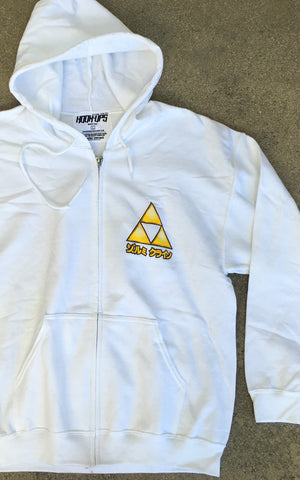 Female Link Zipper Hood Sweatshirt - WHITE