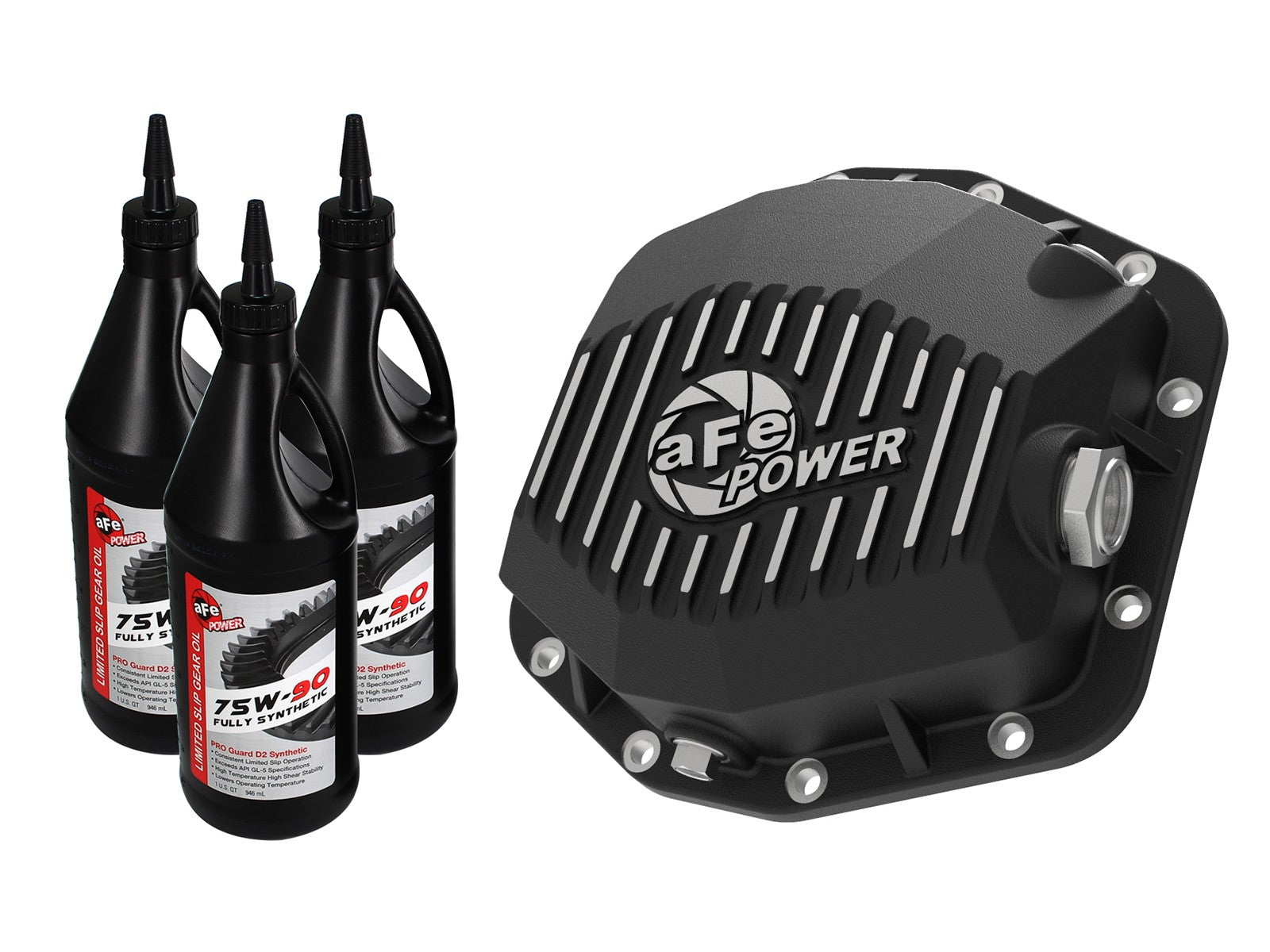 Pro Series Rear Differential Cover Black w/Machined Fins & Gear Oil