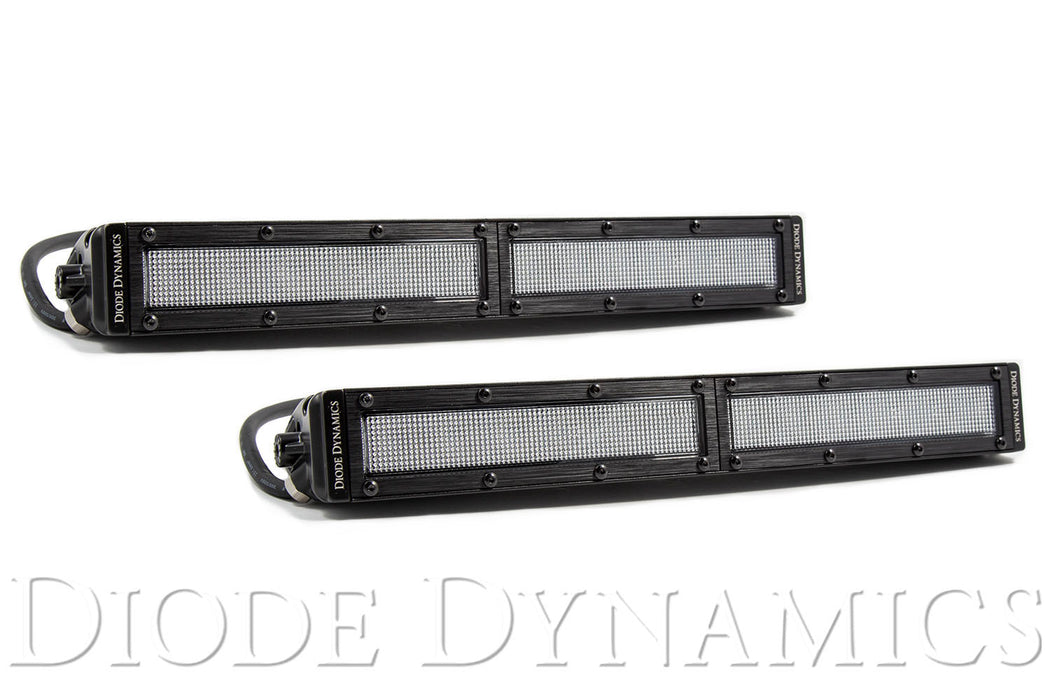 12 Inch LED Light Bar  Single Row Straight Clear Flood Pair Stage Series Diode Dynamics
