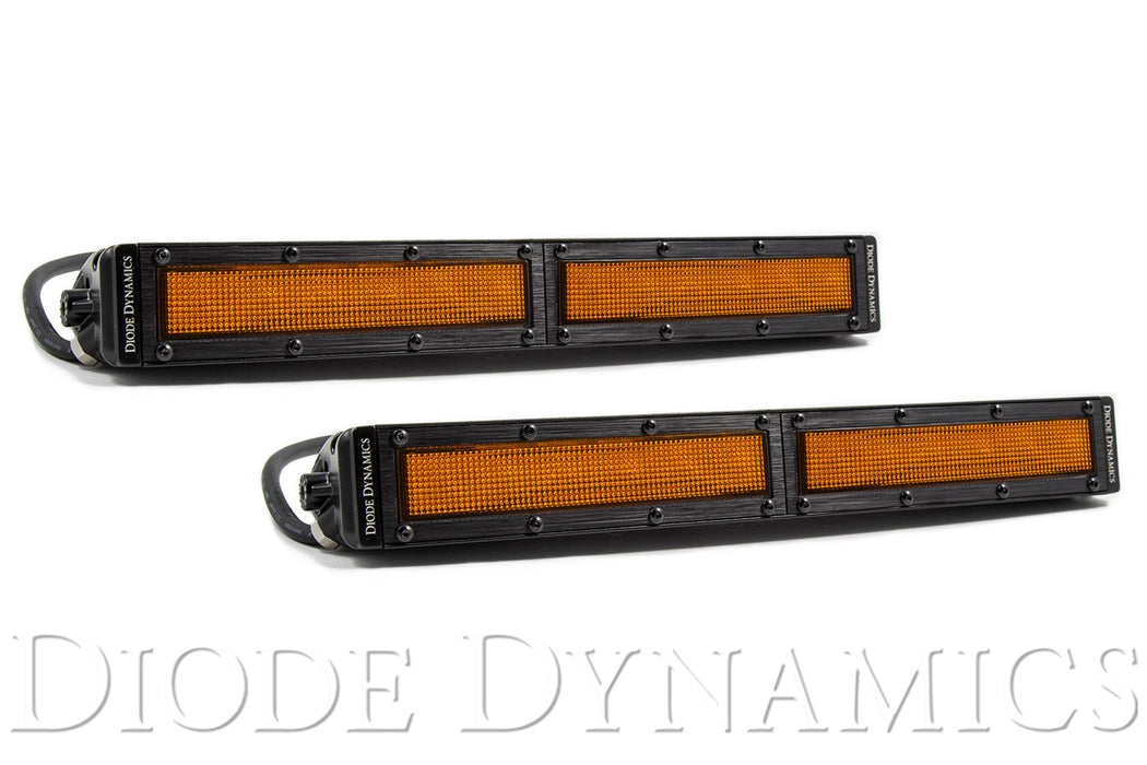 12 Inch LED Light Bar  Single Row Straight Amber Flood Pair Stage Series Diode Dynamics