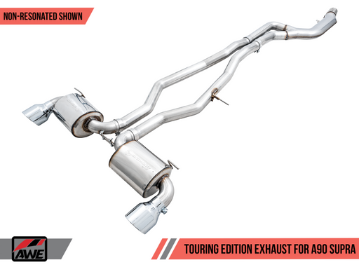 AWE 2020+ Toyota Supra A90 Resonated Touring Edition Exhaust - 5in Diamond Black Tips