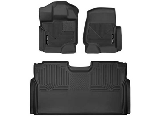 F150 CREW X-ACT CONTOUR SERIES BLACK FRONT & 2ND ROW FLOOR LINERS