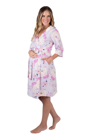 Anais purple and pink printed robe. Match with daughter for spa day with mom. Anais is a dainty, purple and pink flowered print. Knee length, 3/4 sleeve length.