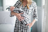 Black Gingham Delivery Robe & Swaddle Blanket Set