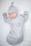 NEWB Grey Baby Receiving Gown & Hat