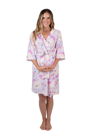 Anais mom robe with belt tie and 95% spandex/5% cotton robe. Match with daughter and baby in a gorgeous flowered print.