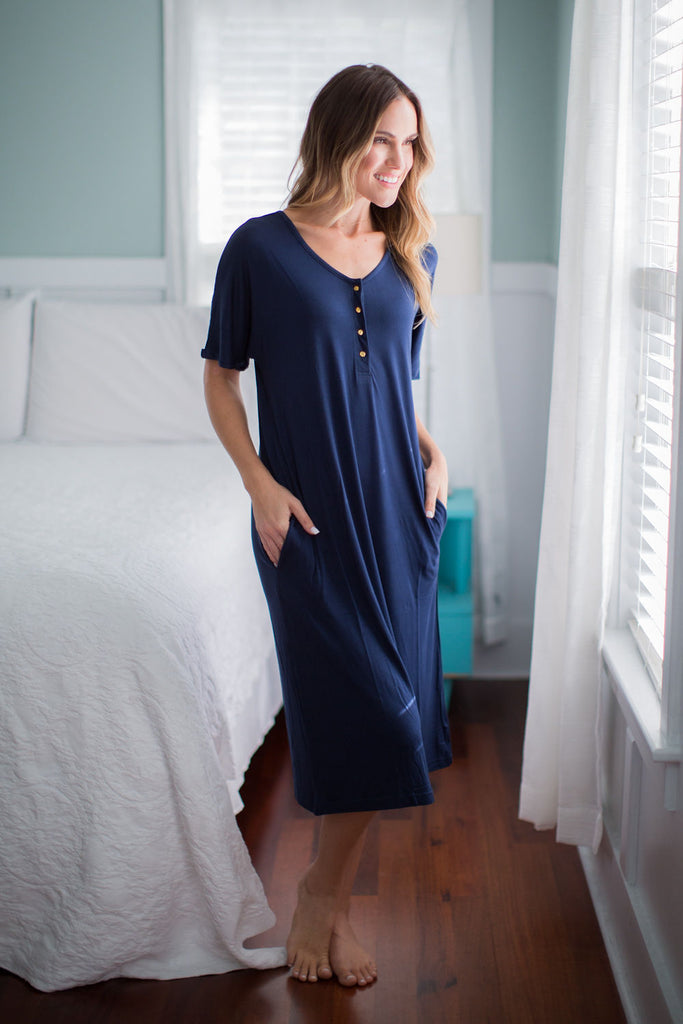 Navy Endless Mama Every Day Maternity/Nursing Lounge Dress