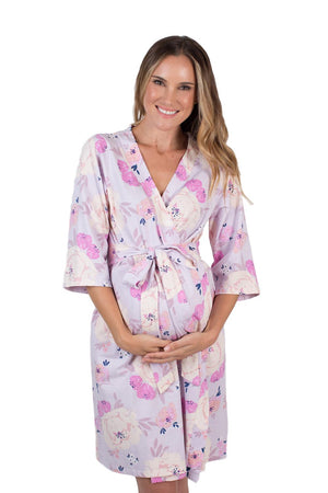 Anais purple printed robe for perfect bump photos and labor and delivery. Make your maternity photoshoot complete with matching garments.