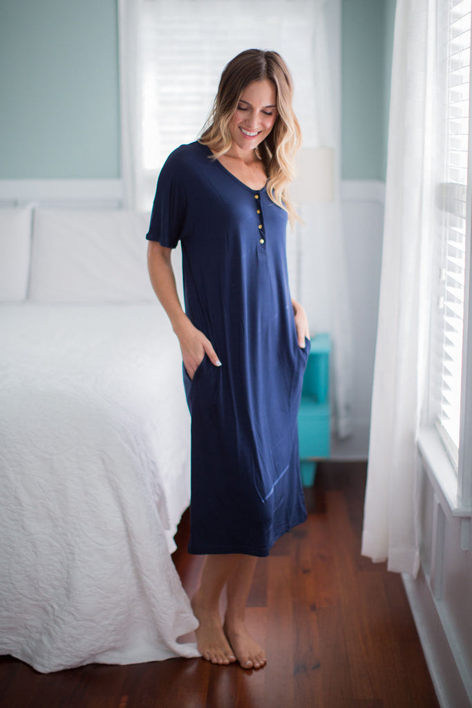 Navy Endless Mama Maternity/Nursing Lounge Dress & Whale Swaddle Blanket Set