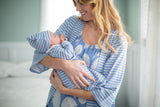 Zoe Stripe Robe & Floral Nightgown & Stripe Baby Gown Set