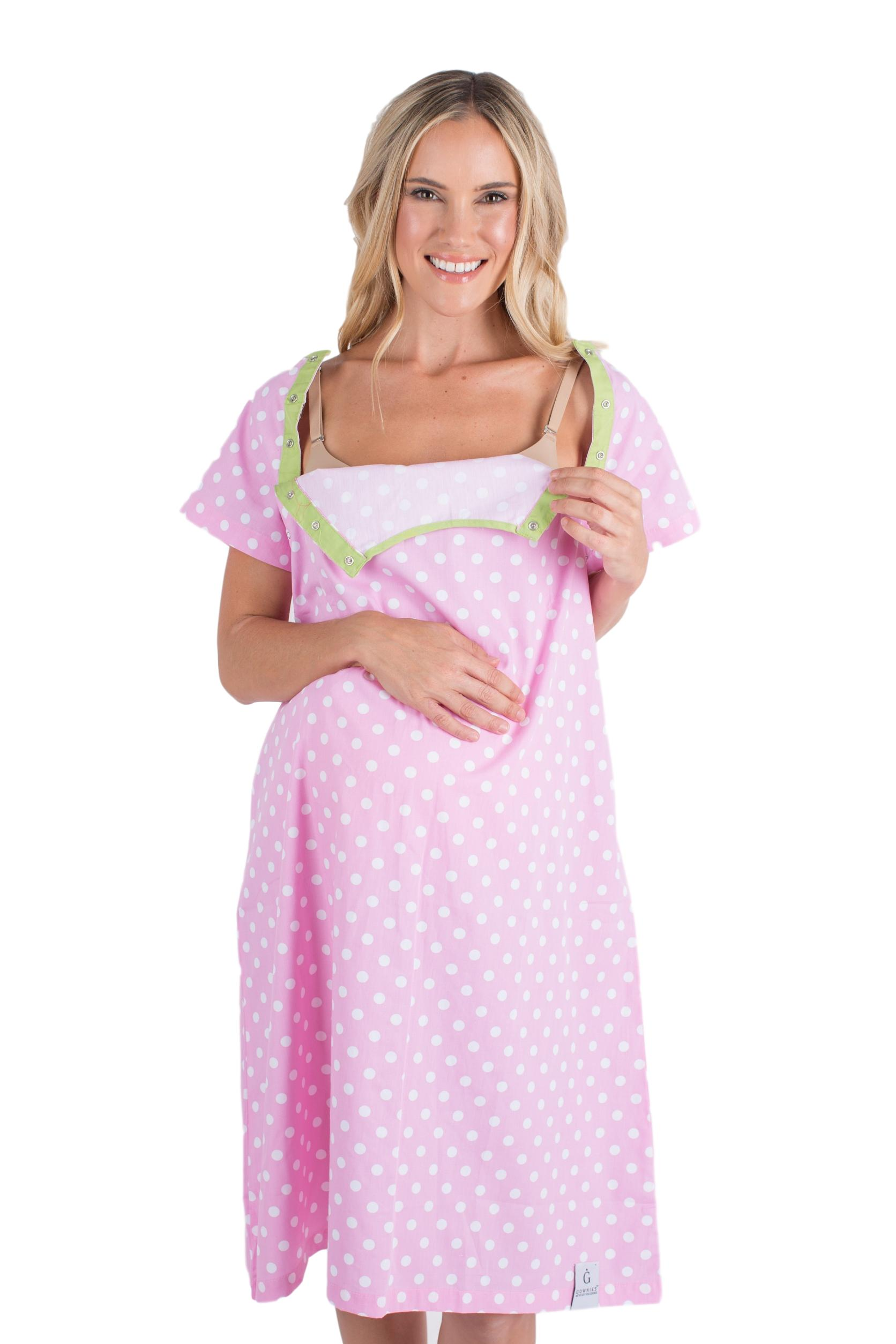 Pink Dotted Labor And Delivery Hospital Gowns For