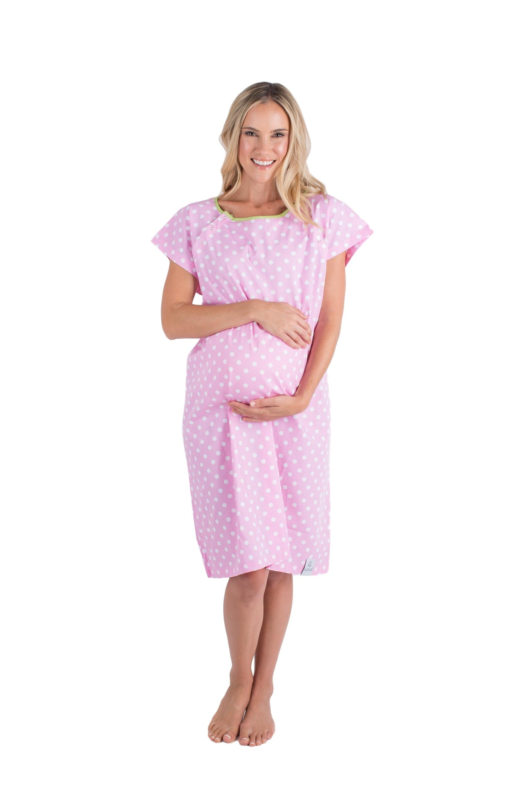 Molly Pink Dotted Maternity Delivery Hospital Gown Gownie & Delivery Robe Set