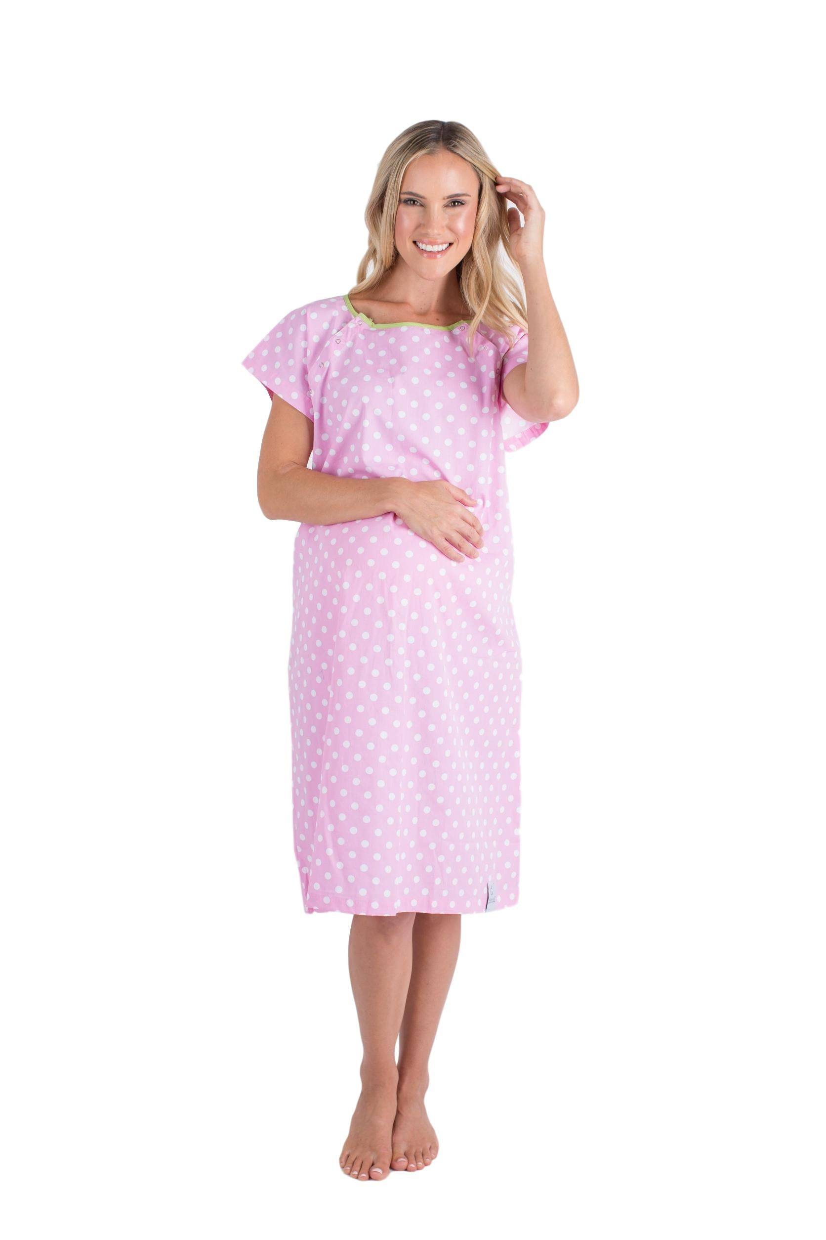 Pink Dotted Labor and Delivery Hospital Gowns for Maternity ...