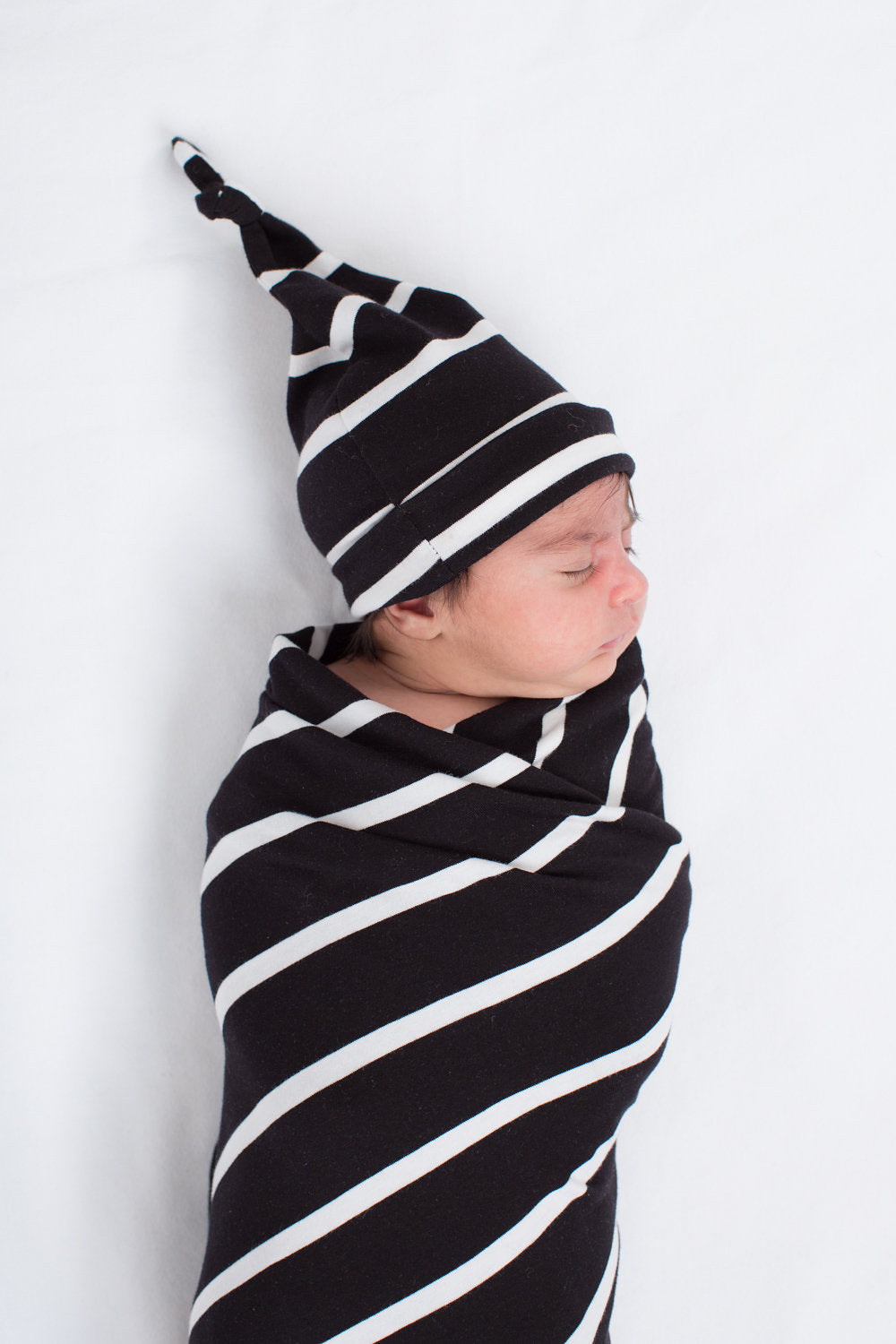 Black Striped Swaddle Blanket and Newborn Hat Set