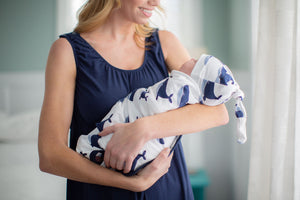 Navy Whale Swaddle Blanket and Newborn Hat Set