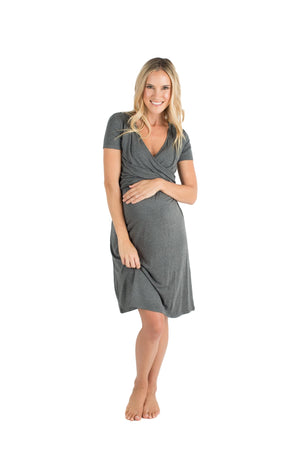Baby Be Mine The Alyssa Ultra Soft Maternity & Nursing Nightgown Dress Dark Grey