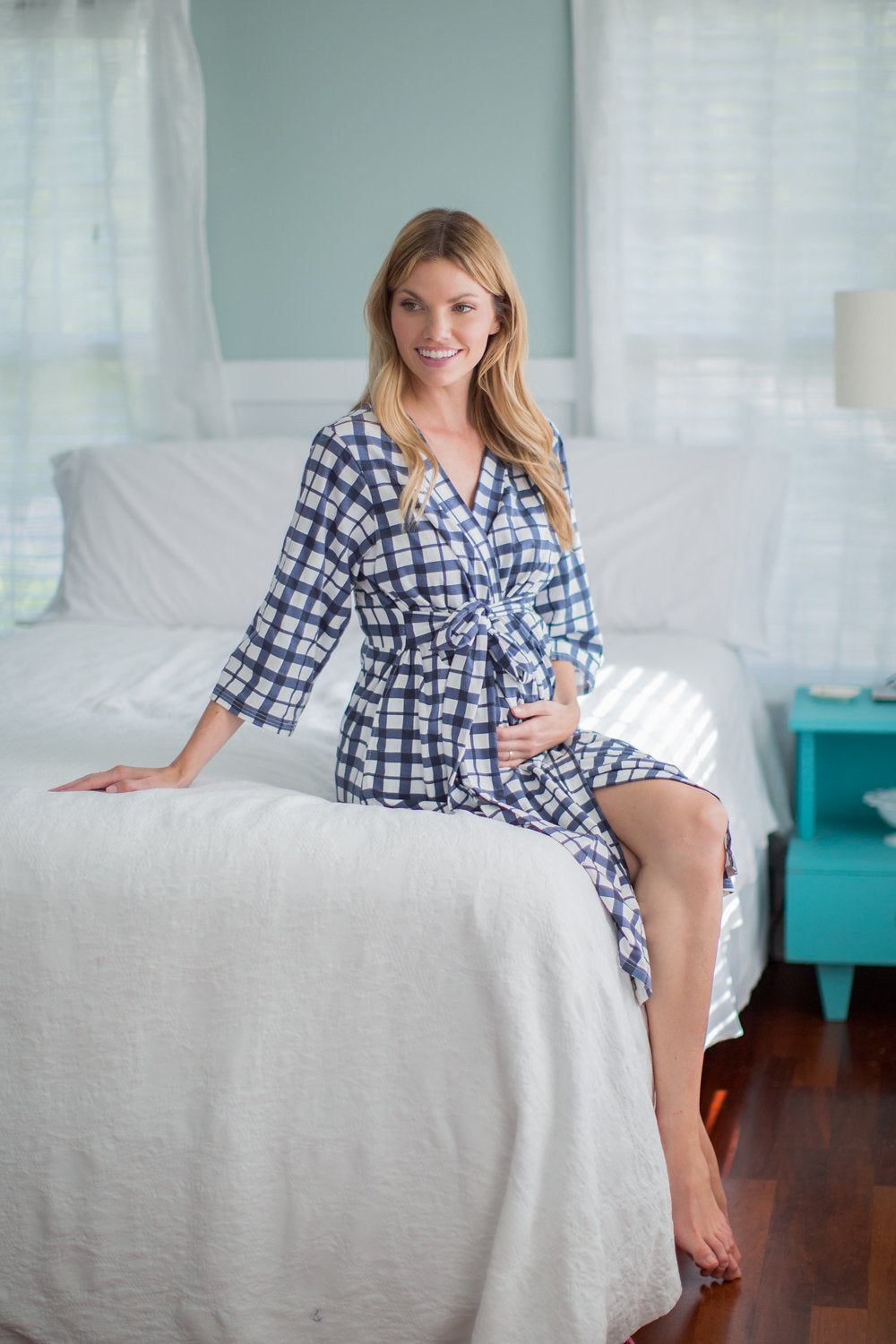 Blue Gingham Delivery Robe and Navy 3 in 1 Labor Gown Set