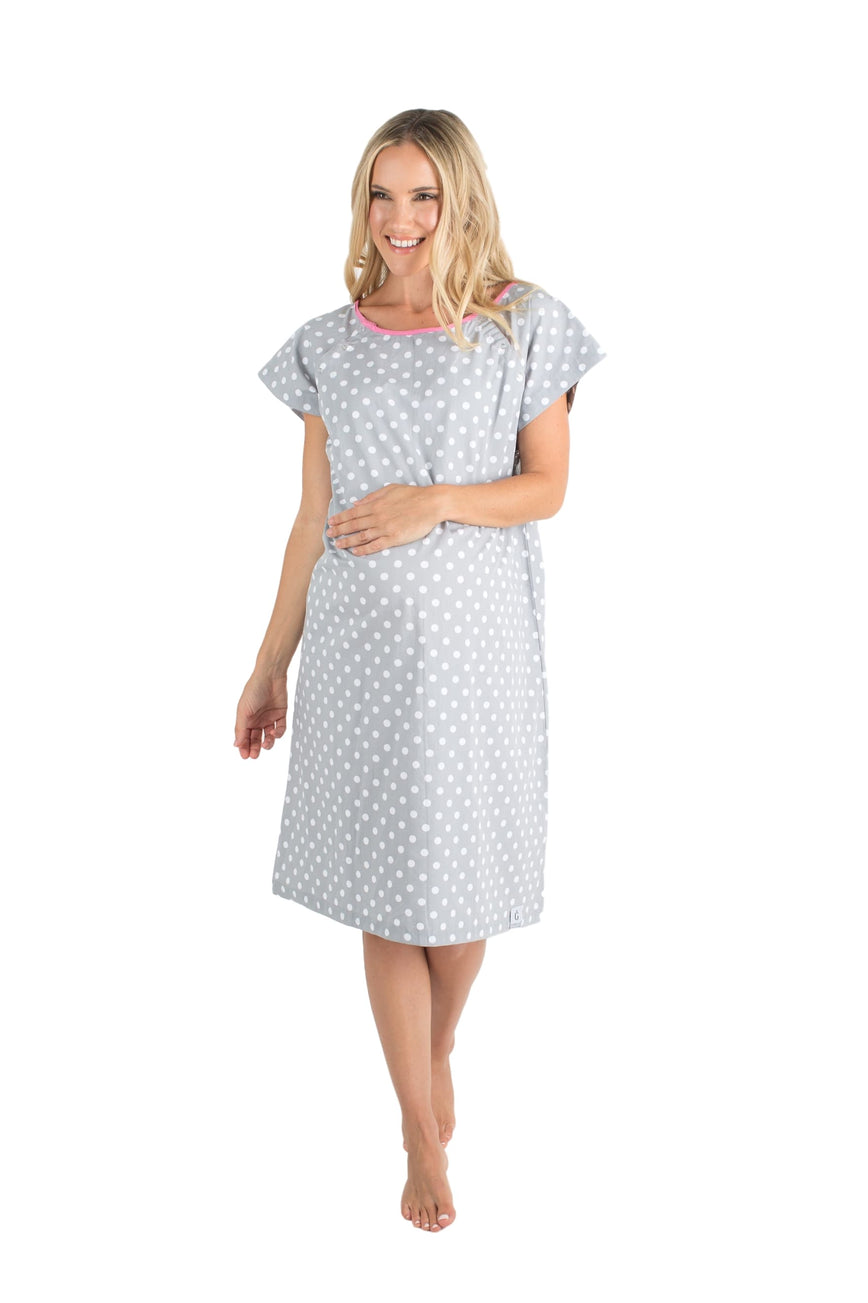 Lisa Grey Dotted Gownies: Designer Maternity Delivery Labor Hospital ...