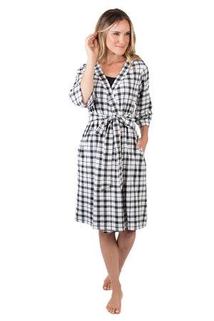 Black Gingham Delivery Robe