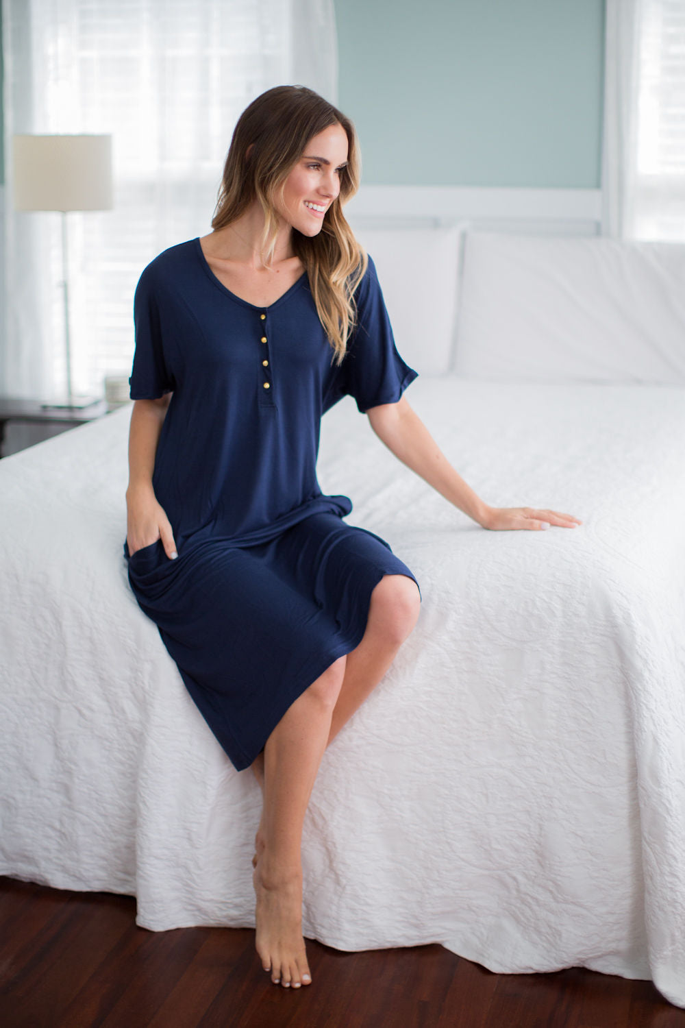 Navy Endless Mama Every Day Lounge Dress & Whale Baby Gown Set