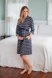 Navy Stripe Delivery Robe & Matching Baby Gown Set